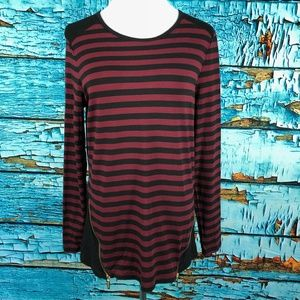 Michael Kors Striped Long Sleeve Zipper Tunic Top